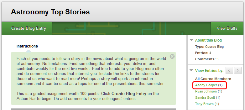 3. On the Blog topic page, select a classmate's Blog to view in