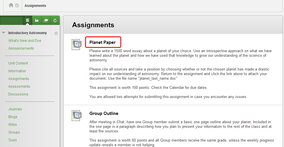 2. Click on the name of the assignment to access