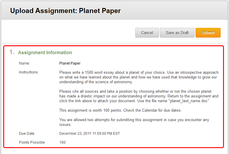 3. Review the assignment instruction and/or download any files