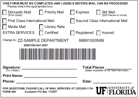 G. Mail Processing Slips Mail Processing Slips are required in order for UF Mail Services to process your mail. The form is completed by the mailer and must accompany the mailing to UF Mail Services.