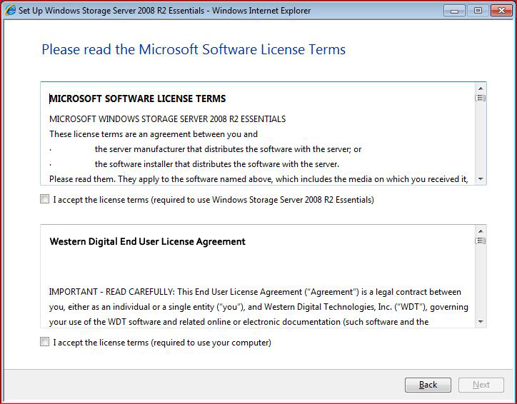 4. Select the server language from the list provided and click the arrow to continue. 7. Click Next to display Microsoft and Western Digital license agreements.