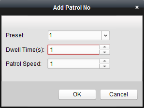 Before you start: Two or more presets for one PTZ camera need to be added. Perform the following steps to add and call a patrol: 1. Click the Patrol button to enter the PTZ patrol configuration panel.