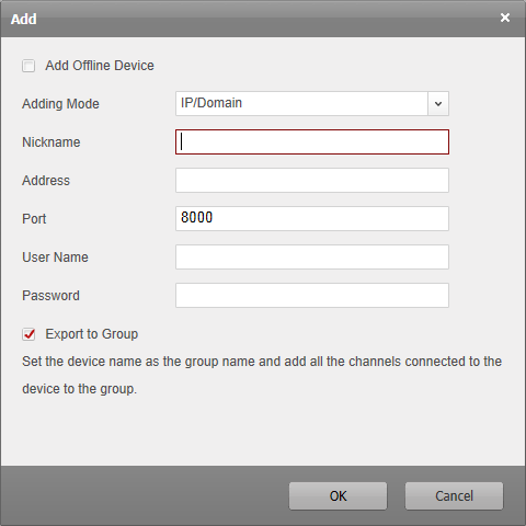 Adding Devices by IP Segment 1. Click the icon to open the device adding dialog box. 2. Select IP Segment as the adding mode from the drop-down list. 3. Input the required information.