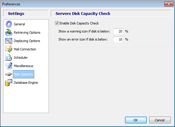 Disk Capacity Settings Using this option, you can enable or disable the Disk