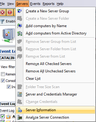 View server information from Advanced Event Viewer Advanced Event Viewer allows you to verify your servers information (e.g.