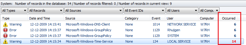 Add to filter Advanced Event Viewer retrieves all events of your servers. By default, only Warning, Error, Audit Failure and Critical events are retrieved and displayed.