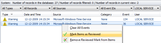Filtering event records Advanced Event Viewer allows you to filter records.