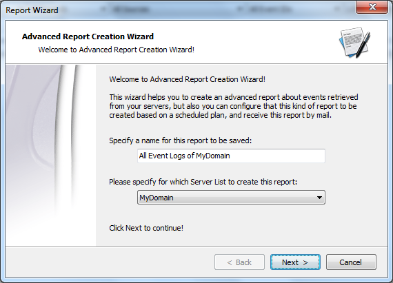 Creating reports Advanced Event Viewer includes a build in Reports Manager to create and schedule reports of your servers.