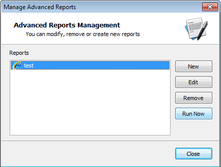 Reports Management After creating a new report, you can always run the report by opening Reports