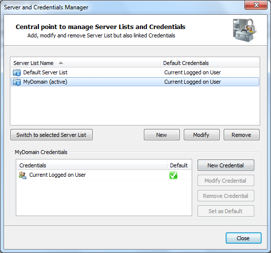 Server and Credential Manager Advanced Event Viewer includes a Server and Credential Manager that allows you to create Server groups and specify the account used to retrieve events; Alternate