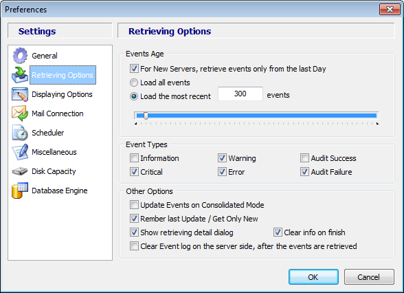 Events Age Using this option, you can select if you want to retrieve all events or only the events from the last day.