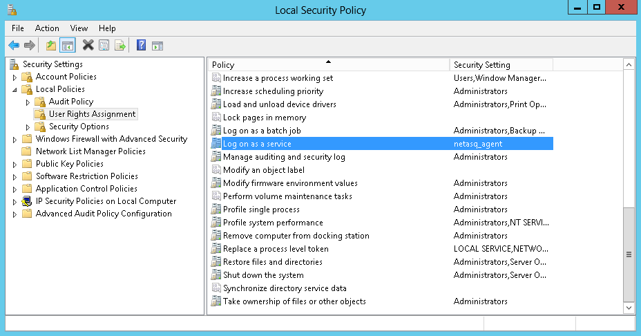 Privileges to open a session as a service 1. In the control panel, click on Local security policy, 2.