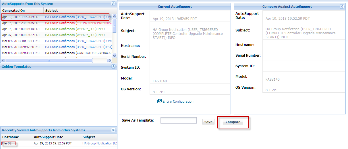 From the System, click the Configurations link to compare configurations (Figure 14) using AutoSupport information. To view the entire system configuration, click the Entire Configuration link.