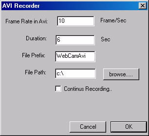 Web Page Layout Recording a Video Clip To record a video clip (AVI file), do the following: Click the tab on the menu sidebar. A settings window appears: Enter the frame rate you want to record at.