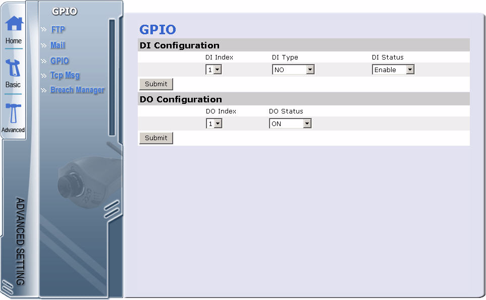 Configuring the Camera Configuring GPIO Settings The GPIO submenu enables you to configure all DI sensor and DO settings: External DI sensors can be attached via the GPIO port at the rear of the