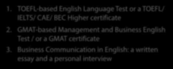 GMAT-based Management and Business English Test / or a GMAT certificate 3. Business Communication in English: a written essay and a personal interview www.abiturient.spbu.