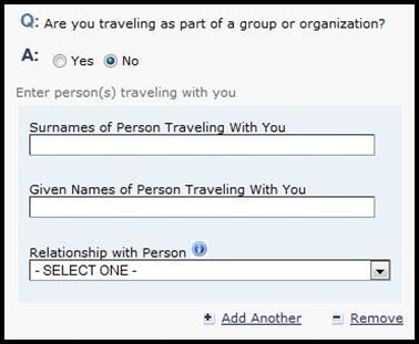 If you answer Yes, you will be asked whether you are part of a group or organization.