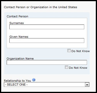 Contact in the United States: Enter the name and contact information for