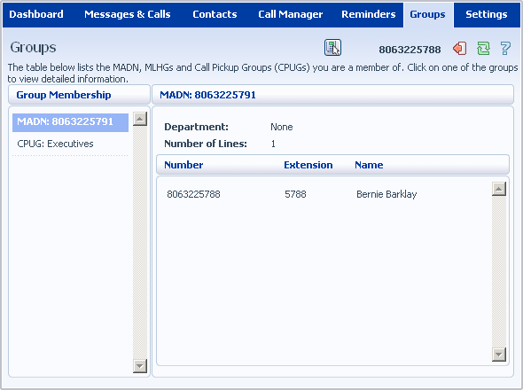 15.2 Call Pickup Groups If your phone line is in a Call Pickup Group, there will be an entry in the Group Membership section called CPUG. Click on this entry to view that Call Pickup Group: 15.