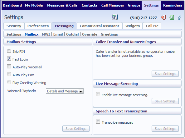 16.5 Messaging The Messaging tab lets you change the operation of your Voice and Fax messaging service, and has a series of sections: Voice and Fax Forwarding This section lets you enter an email