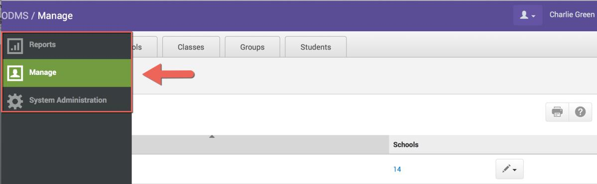 Manage Districts/Schools/Classes To add a new district/school/class, select the school year, etc., from the dropdown menus and click on Add District/School/Class.
