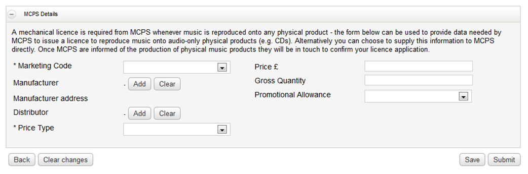 Registering Products: Submitting data to MCPS A mechanical licence is required from MCPS whenever music is reproduced onto any physical product or reproduced as a digital download.