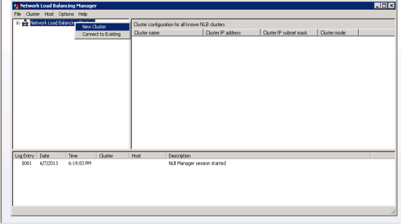 2. Right click on the Network Load Balancing Clusters manager window and select the New