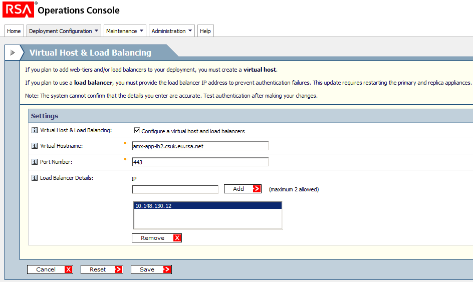 3. Check the box: Configure a virtual host and load balancers then fill in the FQHN (Fully Qualified Host