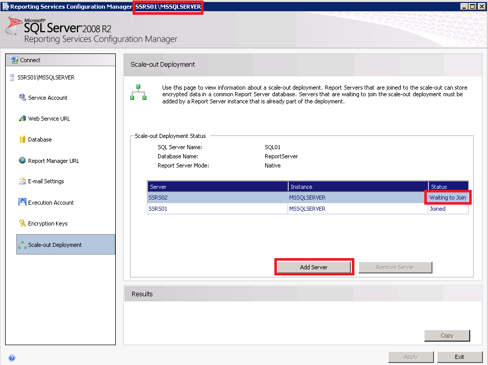 5. Configure the Reporting Services instance for local administration.