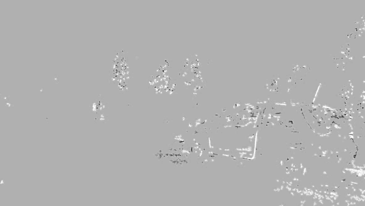 denoised frame and the original, denoted in Fig. 58, showing artifacts on the edges of fastmoving objects. Gray level represents zero noise value (no difference).