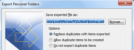 4. Select Personal Folder File for the type of file. 5. Select the mailbox for the export and select Include Subfolders.
