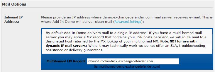 Completing the Setup in ExchangeDefender (For Upgrades) If you are upgrading your accounts from ExchangeDefender to fully blown Hosted Exchange accounts, you will need to make a change to the