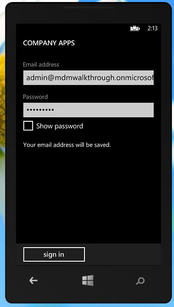 If you didn t configure the DNS Server information we talked about earlier you will have to enter a server address. Use manage.microsoft.com for your server address and click sign in.