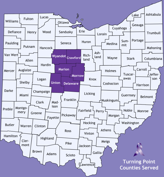 Turning Point provides services to victims of domestic violence and their families in six central Ohio counties.
