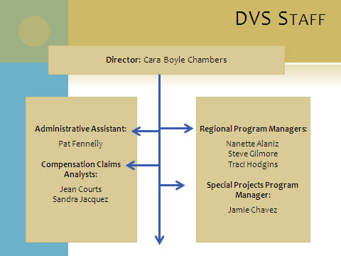 of Victim Services Story Behind the Last Year of Performance: On October 3, 2011, Cara Boyle Chambers assumed the position of Director of the of Victim Services (DVS).