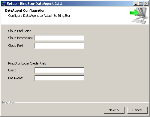 Windows: Microsoft.NET Framework 3.5 is required. You may download.net framework from microsoft.com at http://www.microsoft.com/en-us/download/details.aspx?id=21 2.5.2 Install DataAgent to RingStor Cloud Run Installer Download proper version of the installation executable from http://www.