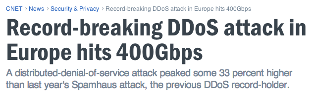 DDoS In the News DDoS attacks still #1 threat to data centers Size of volume-based attacks increasing 80% of attacks less than 50 Mbps Most successful attacks under 1 Gbps Attacks getting more