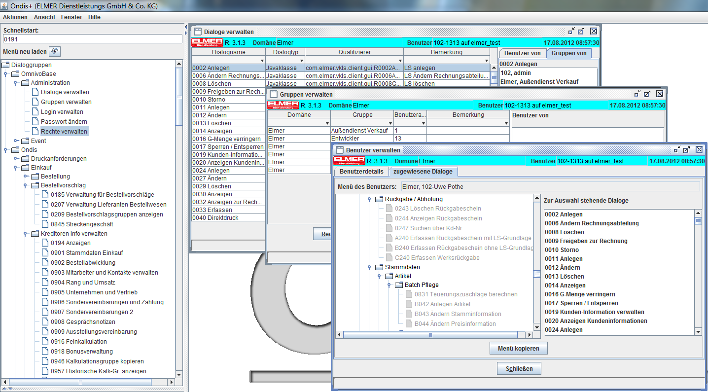 OmnivoBase user & dialogue management adaptable menus, user privileges, groups,