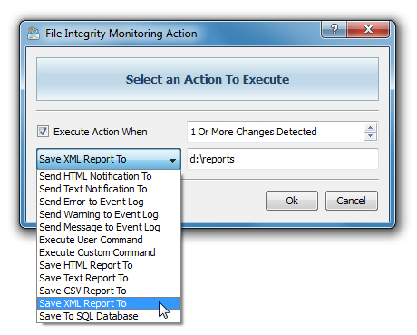 File Integrity Monitoring Actions The DiskBoss file integrity monitor provides the ability to automatically save reports, submit reports to an SQL database, send error messages to the system event