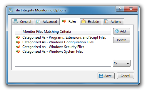On the file integrity monitoring options dialog, select the 'General' tab and select/unselect types of changes that should be detected.