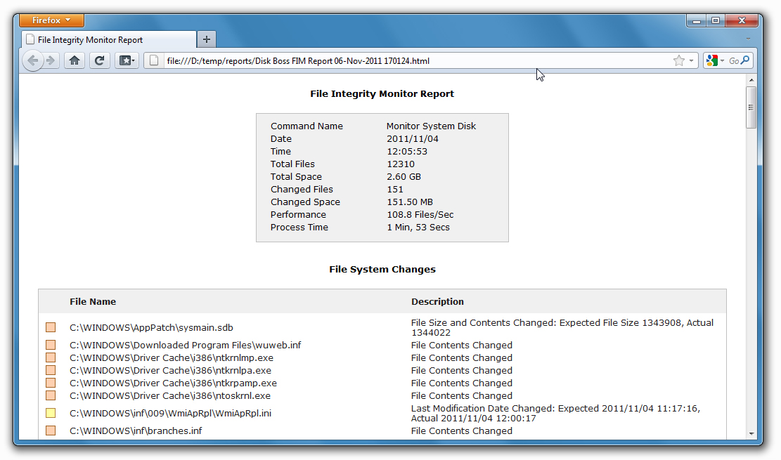 Exporting Report Files The DiskBoss file integrity monitor allows one to export HTML, text, Excel CSV and XML report files.