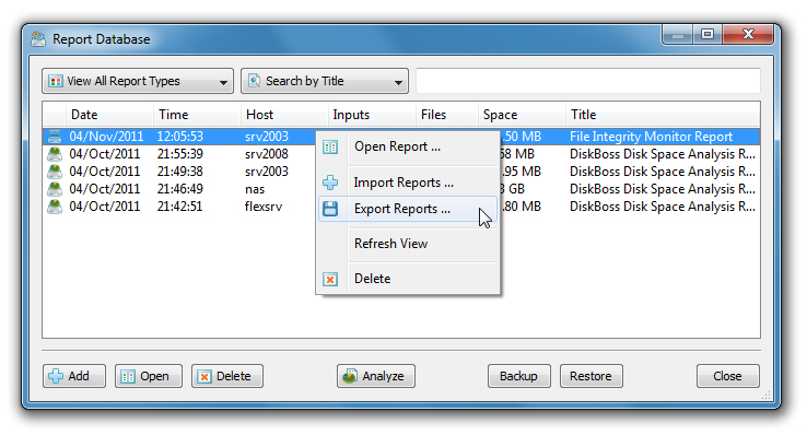 Saving Detected Changes in SQL Database The DiskBoss file integrity monitor allows one to save detected file system changes in an SQL database through the ODBC database interface.