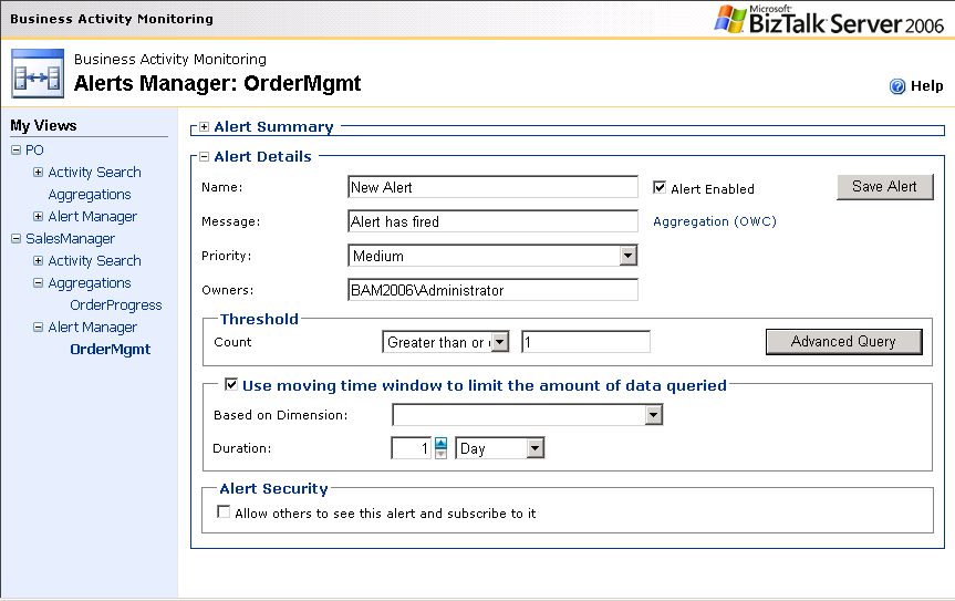 Figure 8: BAM Portal Alerts Creation Page In the case where the user needs to set an alert on one or more dimensions (values) not shown/available in the aggregation, the Alerts Manager page includes