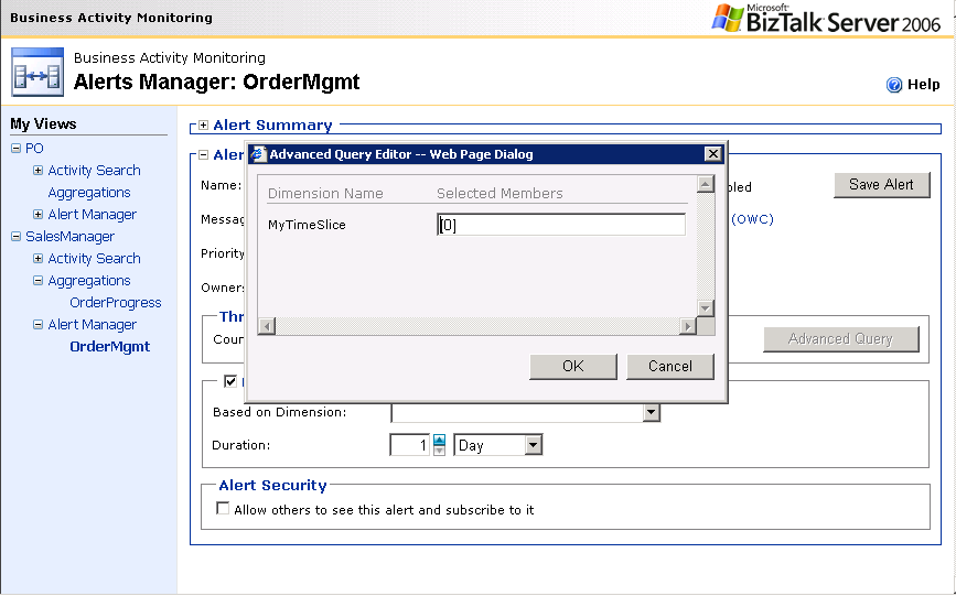 Figure 9: BAM Portal Advanced Query Builder Editing an Alert Alert can be edited or managed using the Alert Manager page.