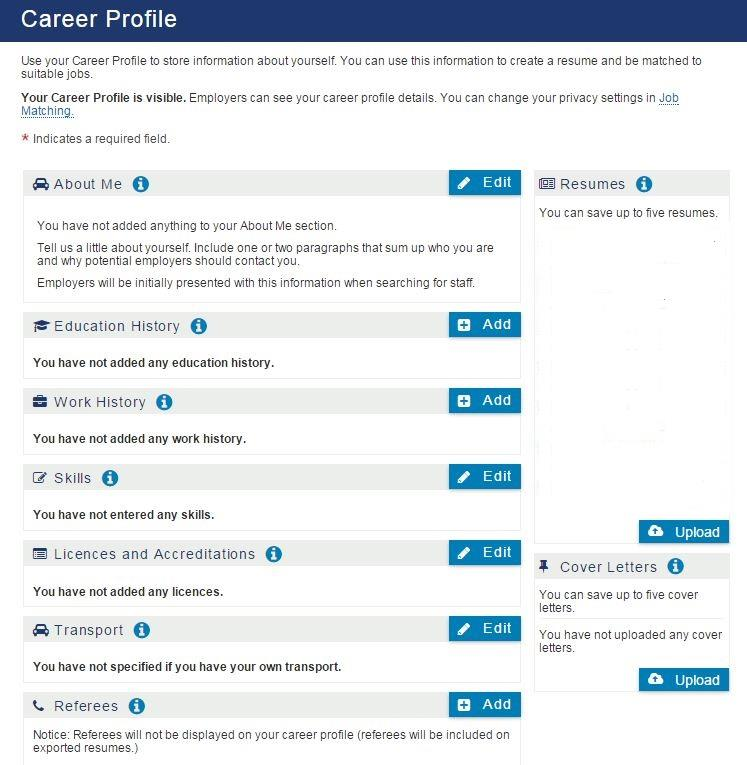 3. Creating a Career Profile and Resume 3.1 Overview Once you are registered with JobSearch, you can create a Career Profile and create and/or upload a resume.