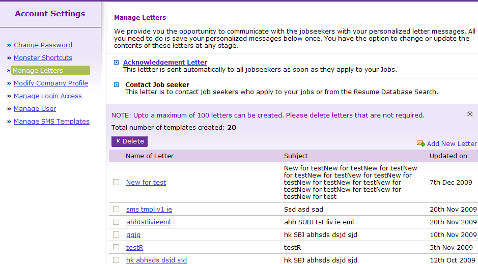 Manage Letters contd. Contact Jobseekers You can save maximum of 100 letters. Add New Letter: Click this link to add a new letter.