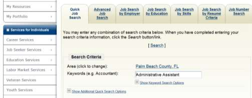 A Job Information page will appear displaying job details.