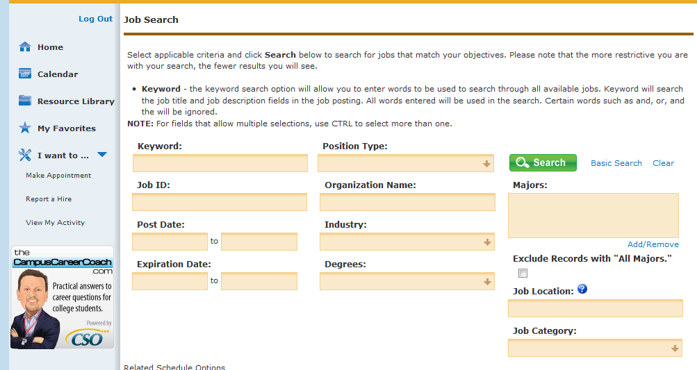 Advanced Search Options Active job postings can be searched by several categories as seen above.