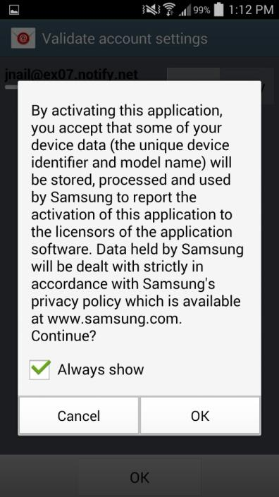 ActiveSync Account Set Up for Samsung KNOX Devices If you are using a Samsung KNOX device, you will see an ActiveSync profile in your Notifications after you complete the GO!