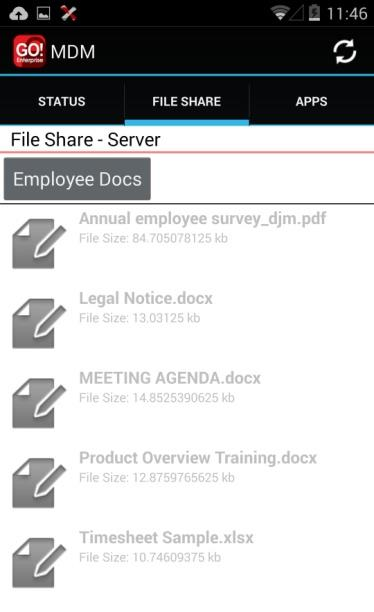 Accessing the Shared File List Your administrator can compile and make available a directory of folders and files.
